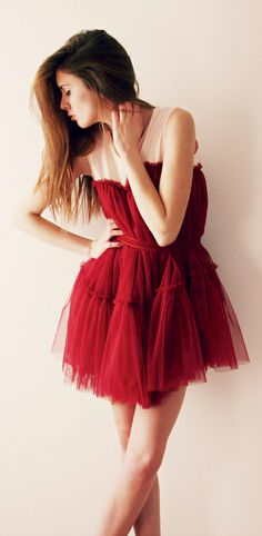 "valentine's tulle...I like the shade of red & I like the ""movement"" of the dress..."