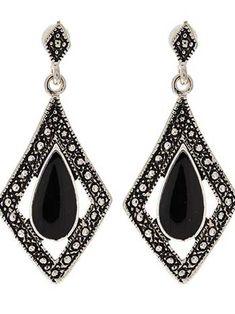 Marcasite Look Diamond Shape Drop Earrings