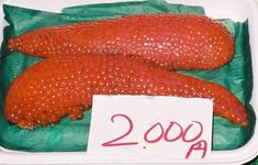 Salmon roe (eggs) marked for sale at the Shiogama seafood market in Japan.