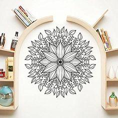 Mandala Wall Decal Namaste Indian Lotus Flower Yoga Ornament Geometric Moroccan Pattern Wall Vinyl Decals Sticker Home Decor Mural Design Graphic Bedroom (6066)