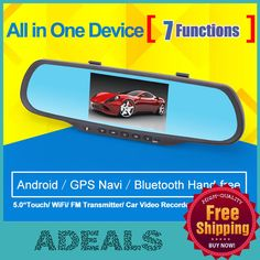 "Find More Car DVRs Information about 5.0""Touch Android GPS Navigation Car Mirror Camera Recorder Bluetooth Hand WiFi 1080P Dual lens parking Car DVRS Free shipping 	,High Quality Car DVRs from HongKong Adeals Auto Technology Co. Ltd  on Aliexpress.com"