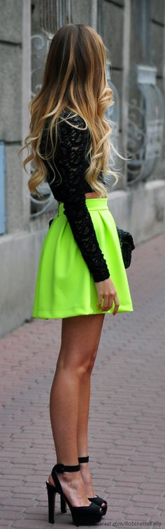 Neon x lace top Street Style- love it but I don't think I would be brave enough to wear it