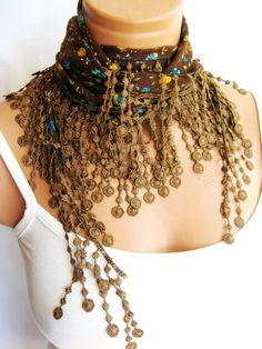 Fashion Brown Colorful Scarf Summer trend scarf by WomanStyleStore, $12.00