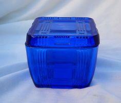 HAZEL ATLAS COBALT BLUE | Depression Era Hazel Atlas Cobalt Blue Criss Cross Refrigerator Dish
