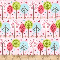 Riley Blake Summer Song 2 Trees Pink from @fabricdotcom  Designed by Zoe Pearn for Riley Blake, this cotton print is perfect for quilting, apparel and home decor accents. Colors include blue, green, brown and pink.