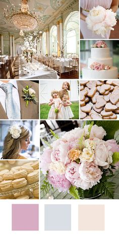Blush, silver and cream