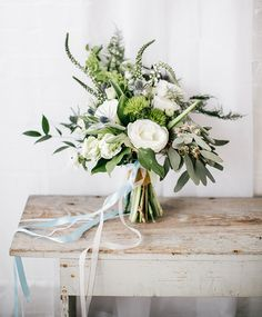Beautiful green and white bridal bouquet