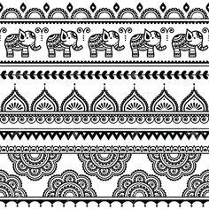 Illustration of Mehndi, Indian Henna tattoo seamless pattern with elephants vector art, clipart and stock vectors. Mandala Art, Mandala Drawing, Mandala Pattern, Mandala Tattoo, Abstract Pattern, Henna Kunst, Henna Art, Madhubani Art, Madhubani Painting