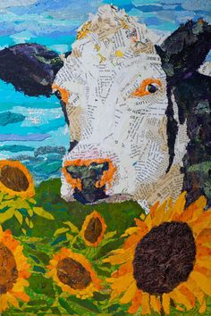 24 inches by 36 inches gallery wrapped canvas giclee of the original mixed media collage Original mixed media collage created from bits of torn paper adhered over an acrylic under-painting on wood pan Más Mixed Media Collage, Collage Art, Collage Ideas, Cow Art, Art Plastique, Stretched Canvas Prints, Teaching Art, Medium Art, Altered Art