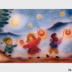 Celebrate ~ Martinmas ~ Children with Lanterns ~ felted wool Wool Yarn, Wool Felt, Felted Wool, Waldorf Crafts, Felt Pictures, Needle Felting Tutorials, Nature Table, How To Start Knitting, Wet Felting