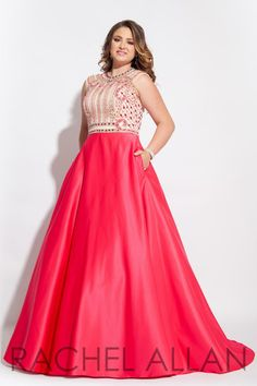 Rachel Allan Curves 7440 is a long sleeveless matte satin plus size prom gown with multicolor beaded bodice and pockets.