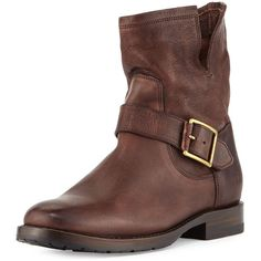 Frye Natalie Short Engineer Boot ($370) ❤ liked on Polyvore featuring shoes, boots, ankle booties, ankle boots, dark brown, frye booties, frye bootie, frye boots, engineer boots and low heel booties