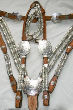 Western breastplate and double ear headstall (bridle)