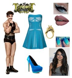 """Slammy Awards w/ Simon Gotch"" by mrsromanreigns916 ❤ liked on Polyvore featuring Hervé Léger, VIVO, Promise Shoes, Fornash and Reyes"