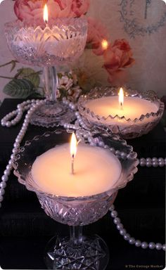 Create your own set of lovely candles using vintage crystal dishes, wax flakes, and wicks.