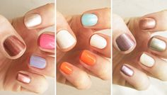 How To: Mismatched Manis (That Don't Clash!) The Mani: Complementary Colors Choose lacquers that work together but aren't too matchy-matchy by consulting the good ol' color wheel (flashback to art class!) Select shades that are across from each other on the wheel, like blue and orange, purple and yellow, or red and green. Then paint one or two nails with a white polish or soft neutral to make the complementary hues really stand out.