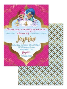 Shimmer and Shine Invitation - 5X7 Shimmer and Shine Birthday Party Invite   Faux Metallic Gold Morrocan   Shimmer and Shine Birthday Party by AlleyPoohsDesigns on Etsy https://www.etsy.com/listing/245889814/shimmer-and-shine-invitation-5x7-shimmer