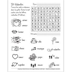 Fichier PDF téléchargeable En noir et blanc seulement 1 page  Ce mot caché illustré est un bon moyen d'apprendre du vocabulaire tout en s'amusant. Le mot à trouver est: amoureuse. French Teaching Resources, Teaching French, School Resources, Teaching Tools, Saint Valentine, Valentine Day Crafts, Amelie Pepin, Crochet Teddy Bear Pattern, Hidden Words