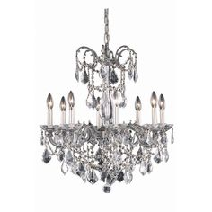 """Athena 24"""" Crystal Chandelier with 8 Lights - Pewter Finish and Swarovski Elements Crystal"""