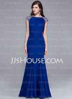 Evening Dresses - $136.49 - Mermaid Scoop Neck Floor-Length Chiffon Charmeuse Evening Dress With Beading (017025435) http://jjshouse.com/Mermaid-Scoop-Neck-Floor-Length-Chiffon-Charmeuse-Evening-Dress-With-Beading-017025435-g25435