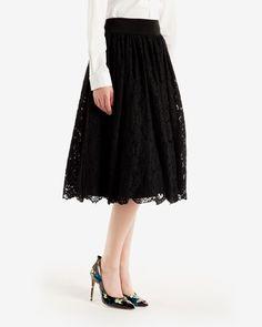 Lace ballerina midi skirt - Black   Skirts   Ted Baker UK