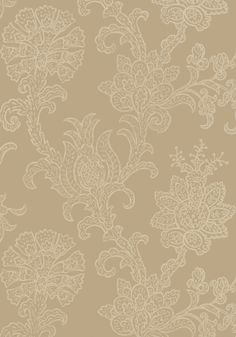 The block print #wallpaper technique of the bold floral in Shapell's sophisticated design climbs the walls with poise and grace. Featured here in #beige from the Neutral Resource collection. #Thibaut