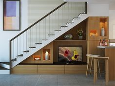 Ideas Living Room Storage Under Tv Under Stairs Home Stairs Design, Interior Stairs, Interior Design Living Room, House Design, Room Interior, Design Design, Design Room, Modern Interior, Design Ideas