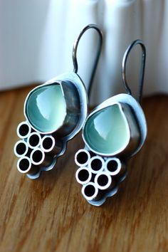 Unique Earrings in Sterling Silver and Green Chalcedony - $82.00 by EONDesign on Etsy
