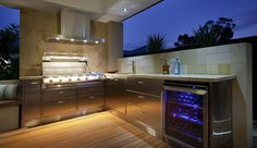 Outdoor Kitchen Design Ideas - Photos of Outdoor Kitchens. Browse Photos from Australian Designers & Trade Professionals, Create an Inspiration Board to save your favourite images. Modern Outdoor Kitchen, Outdoor Kitchen Plans, Outdoor Kitchen Cabinets, Outdoor Kitchens, Backyard Kitchen, Backyard Patio, Backyard Ideas, Japan Logo, Patio Design