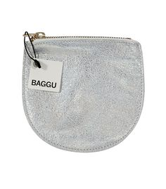 Small Leather Pouch in Silver | Peek Kids Clothing