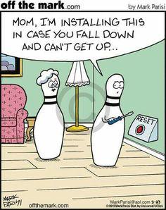 Alert for oldies fun bowling, school humor, funny comics, funny cartoons, funny Funny Puns, Funny Cartoons, Haha Funny, Funny Comics, Hilarious, Funny Stuff, Funny Things, Bowling Memes Funny, Bowling Quotes