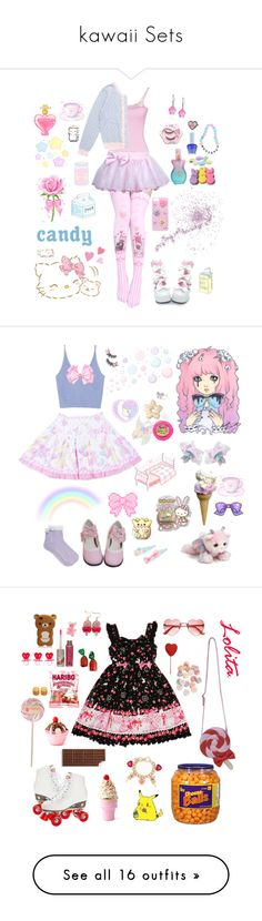 """""""kawaii Sets"""" by sweetcherrycola on Polyvore featuring GUESS by Marciano, Paul & Joe Beaute, Anna Sui, H0les, Hello Kitty, Zara, Disney, Aurora World, Dylan's Candy Bar and Hershey's"""