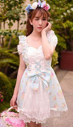 Sweet baby blue posy floral organza dress