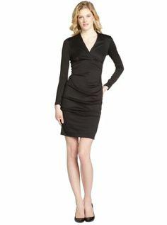 black ponte v-neck stretch long sleeve dress