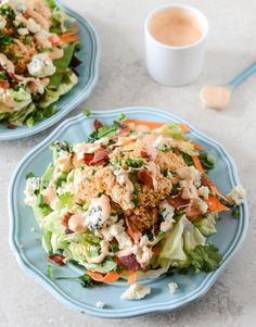 Crunchy Buffalo Chicken Salads//How Sweet It Is