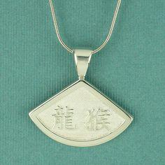Chinese Symbol Fan Pendant
