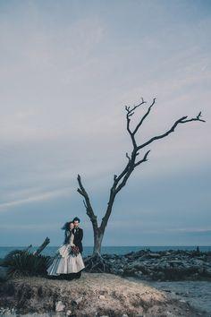 Victorian Goth Wedding on a Deserted Beach: Katie  Eric