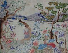 1930's Chinoiserie needlework, Silk crewel work , Japanese landscape, In a