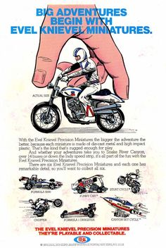 Evel Knievel Toys - Vintage Ad (Had some of these too) Childhood Toys, Childhood Memories, Evel Knievel Toys, Howard The Duck, Spectacular Spider Man, Amazing Spiderman, Vintage Ads, Vintage Advertisements, Vintage Signs