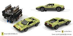 Ferrari 365GT4 BB and UCS F102A Flat-12 Engine Ferrari Berlinetta, V12 Engine, Lego Builder, Lamborghini Miura, Horse Logo, Formula 1 Car, First Car, Manual Transmission, Turin