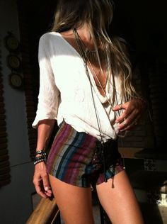 Striped shorts, boho cowl neck top, studded leather wrist wear nod layered necklaces. Sexy bohemian.