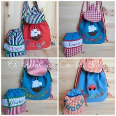 Kids Bags, Hand Embroidery, Apron, Backpacks, Couture, Sewing, Projects, Fashion, Vintage Baby Rooms