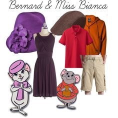 Bernard & Miss Bianca by kristenmohr on Polyvore featuring Dickies, Uniqlo, Ophelie Hats, disney, disneybound, disneycharacter and rescuers