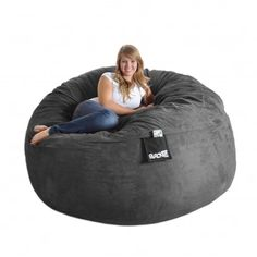 This is definitely my favorite!!    @Overstock - Curl up in comfort or lie back for a nap on this grey microfiber and foam bean bag sack. Made from a durafoam blend that has a cotton/polyester inner lining and a washable microfiber cover, this bean bag is six-feet around and weighs 75 pounds.   http://www.overstock.com/Home-Garden/Slacker-Sack-6-foot-Round-Charcoal-Grey-Microfiber-and-Foam-Bean-Bag/6735452/product.html?CID=214117 $283.99