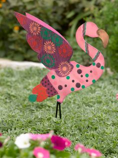 Metal Yard Art: Calico Flying Pink Flamingo Stake | Gardeners.com