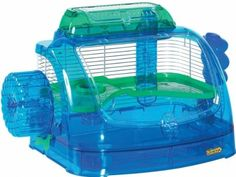 Super Pet - Crittertrail Clear view Discovery - Large. • This All-In-One Home Features Blue and Green Colors With A Large Opening, As Well As A Perch Area For Your Furry Friend • Convertible Petting Zone and Travel Carrier Size