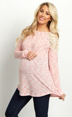 We love the playful details of this feminine maternity top. You can be sure this top will be the star of any outfit with its gorgeous crochet shoulder details. Wear this lightweight fabric with your favorite maternity jeans and boots for a complete chic look.