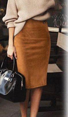 Outfits with skirts Carmen Faux Suede Midi Pencil Skirt - Camel, Beige or Black Carmen Faux Suede Midi Bleistiftrock - Kamel, Beige oder Schwarz Summer Work Outfits, Fall Outfits, Sweater Outfits, Casual Outfits, Black Outfits, Outfit Winter, Tan Skirt Outfits, Fall Office Outfits, Classy Outfits