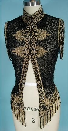 """""""c. 1890 VICTORIAN Jet Black and Gold Glass Beading Bodice on Net with Open Beaded Sleeves"""""""