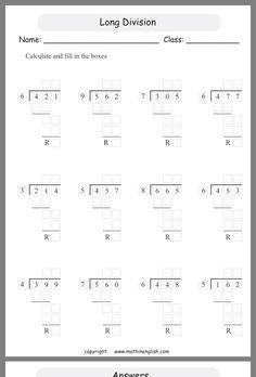 Year 5 Maths Worksheets, Math Division Worksheets, Math Tutor, Teaching Math, Math Math, Multiplication, Teaching Ideas, Math Conversions, 5th Grade Math
